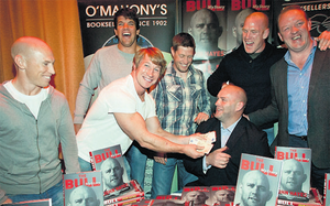 John Hayes at his book launch with Peter Stringer, Jerry Flannery, Donncha O'Callaghan, Ronan O'Gara, Paul O'Connell and Mick Galwey.
