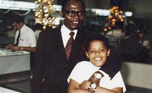 Barack Obama is seen with his father, Barack Obama Snr, in a family photo in the 1960s