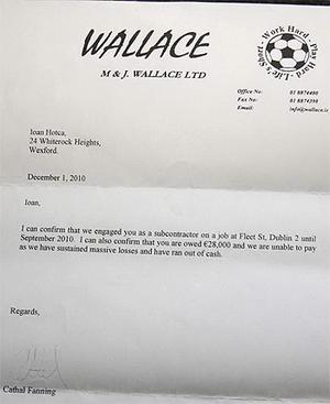 The letter to Mr Hotca from M & J Wallace Ltd