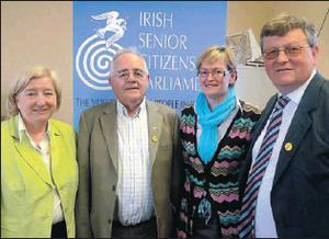 Mairead McGuinness, MEP for Ireland East, in town recently for the Dundalk Senior Citizens Parliament meeting in the Carroll Mead Hall, Pearse Park, with (l-r) Mairead Hayes, Senior Citizens Parliament CEO, Jim Cousins, Senior Citizens Parliament Louth...