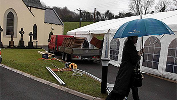 A marquee is set up at St Malachy's Church outside Ballygawley, Co Tyrone, in preparation for the funeral of Michaela Harte which takes place today