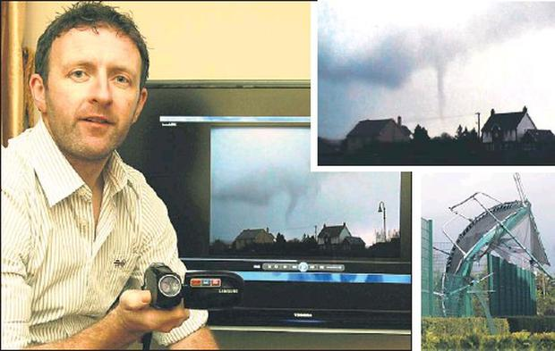 Castleisland publican, Tom Mccarthy re-living the town's tornado ordeal which he captured on his mini-camcorder as it was about to touch down at Cahereen Heights at around noon on Friday. INSET: One of Tom Mccarthy's video images of the tornado and... Credit: Photos by John Reidy