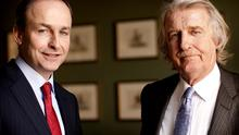 'WE'RE GONE PAST PLAYING THE GAME IN THIS COUNTRY': Fianna Fail leader Micheal Martin with Sunday Independent Editor Aengus Fanning. Photo: David Conachy