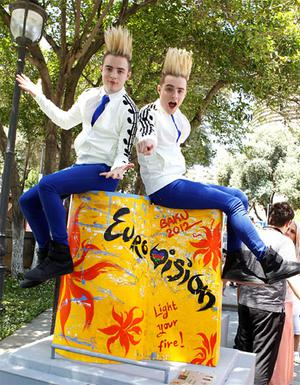 Jedward in Baku at the Eurovision Song Contest.