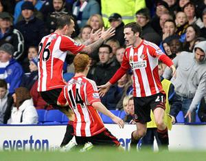 Sunderland's Adam Johnson (right) celebrates with team-mates after scoring their first goal of the game with team-mates Jack Colback (centre) and Steven Fletcher during the Barclays Premier League match at Goodison Park, Liverpool. PRESS ASSOCIATION Photo. Picture date: Saturday November 10, 2012. See PA story SOCCER Everton. Photo credit should read: Peter Byrne/PA Wire
