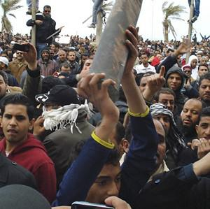 A large group of protesters gather during unrest in Benghazi, Libya