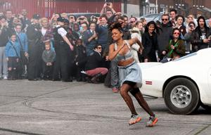 "Rihanna during the second day of filming her new pop video in the new Lodge area of north Belfast. PRESS ASSOCIATION Photo. Picture date: Tuesday September 27, 2011. Rihanna got her marching orders after a farmer objected to her peeling off her clothes while filming a new video on his land, it was disclosed today. Alan Graham, 61, pulled up in his tractor and told the sexy singer to cover up and later claimed: ""Her behaviour was inappropriate."" See PA story SHOWBIZ Rihanna. Photo credit should read: Paul Faith/PA Wire"