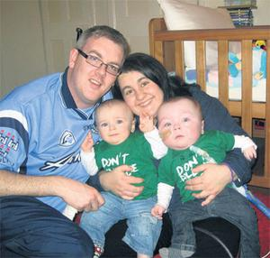 Donal and Rosa O'Connor with their twins Sergio, right, and Tadhg. Sergio will fly to the US to undergo surgery to repair his oesophagus in a top Boston hospital.