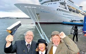 James A Flood from Florida, with Sonja and Nigel Lingard from Suffolk, disembark from MS Balmoral in Cobh yesterday