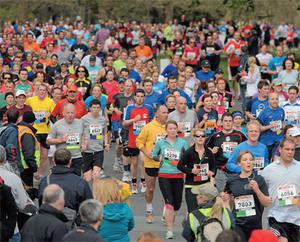 Some of the 10,500 competitors in action during the Spar Great Ireland Run 2012, which took place in the Phoenix Park, Dublin yesterday.