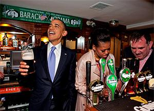 Barack Obama pulling pints in Ollie Hayes's pub