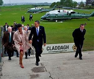 Obama and his wife Michelle arriving at Moneygall