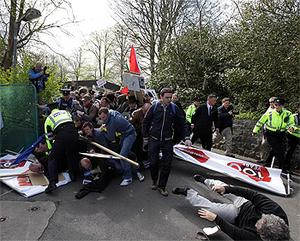 Gardai clash with anti-austerity protestors at the Labour Party conference at NUI Galway