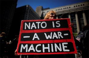 A protester takes part in one of the demonstrations during the week ahead of the NATO meeting in Chicago. Photo: Reuters