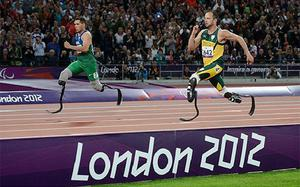 Shocked: Oscar Pistorius was run down by Alan Oliveira in the final 50m of the race. Photo: Getty Images