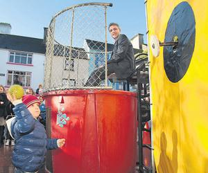 Bryn O'Shea, gets to dunk his Dad, Brian James O'Shea