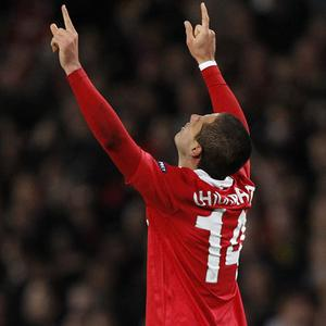 Javier Hernandez celebrates after giving Manchester United the lead against Chelsea at Old Trafford last night - United won 2-1 on the night. Photo: Reuters