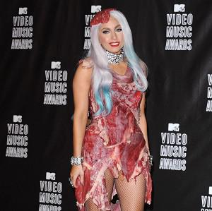 Lady Gaga wears a dress made of slabs of meat