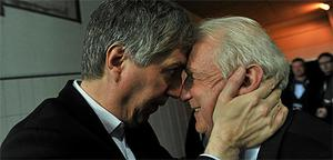 FAI chief executive John Delaney celebrates with Republic of Ireland manager Giovanni Trapattoni  after qualifying for Euro 2012