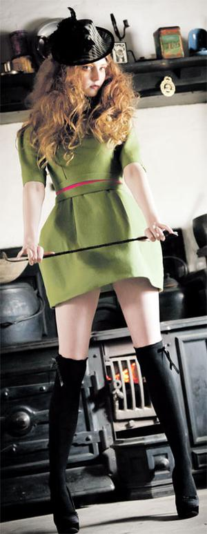 Structured green dress with bubble skirt, from €500