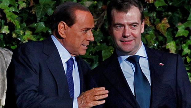 Italian Prime Minister Silvio Berlusconi and Russian President Dmitry Medvedev in Rome yesterday. Photo: reuters