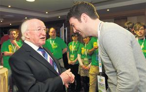 Preseident Michael D Higgins with incoming USI president John Logue at the Carlton Shearwater Hotel, Ballinasloe, Co Galway, yesterday.