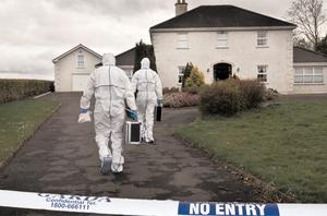 Gardai and technical bureau members arrive at the Sullivan home in Fenore, Kildare, yesterday