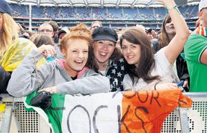 Fans get into the party spirit during last night's farewell concert for Westlife.