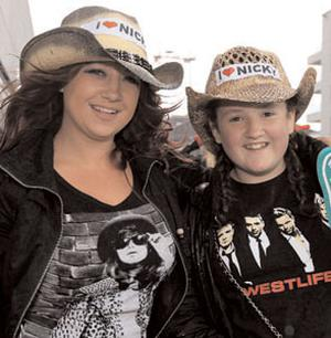 Fans Debbie Larkin and Sophie Rogers from Rathcoole