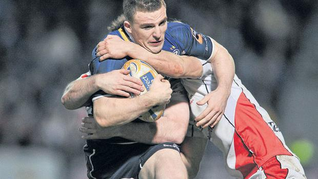 Leinster's Andrew Conway seen here being tackled by Alistair Birch and Chris Cochrane of Ulster last month, will be on the wing as Joe Schmidt's men face Cardiff tonight