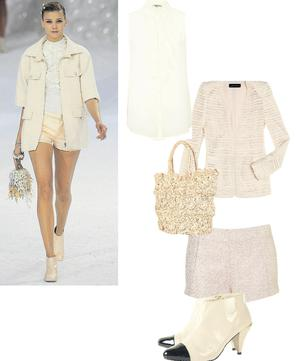 Jacket, €119, at Zara; Shorts, €84; crochet bag, €58; boots, €91, at Topshop.com; Blouse, €33.50, at River Island,