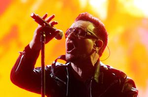 Bono of U2 performs at the Glastonbury Festival. Photo: Getty Images