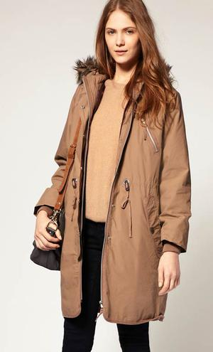Whistles Alex button out lining parka with fur trim hood from asos.com, €201.75