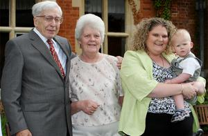 (Left to right) IVF pioneer Professor Robert Edwards, Lesley Brown, with her daughter Louise Brown, 30, from Bristol, the world's first IVF baby, with her son Cameron at the 30th anniversary celebration held at the Bourn Hall Clinic, Bourn, Cambridgeshire. Lesley, the woman who gave birth tothe world's first test tube baby has died. Photo: PA