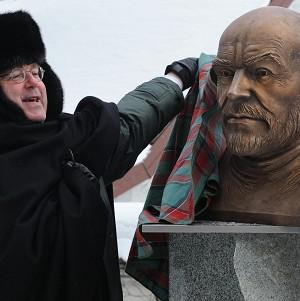 British Ambassador Peter Cater unveils a bronze bust of Oscar-winning actor Sean Connery at the Scottish Club in Tallin, Estonia (AP)