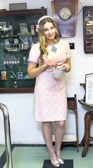 Sixties pink cocktail dress, €150, Hems and Gems; Fifties pink tulle hat, €65, Hayworth Vintage; beaded clutch, €30, Hems and Gems. Shoes, model's own