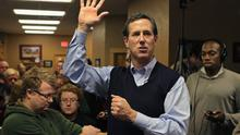 Republican presidential candidate former U.S. Senator Rick Santorum (R-PA) speaks during a campaign stop at the Daily Grind coffee shop on January 1. Photo: Getty Images