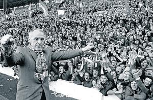 Liverpool manager Bill Shankly receives the acclaim of the Kop after Liverpool clinched the Football League Championship with a draw against Leicester City in 1973