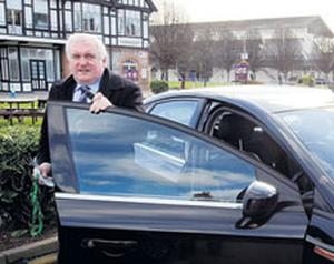 STEERING HIMSELF, NOT THE COUNTRY: Bertie Ahern arrives at the RDS