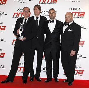 Geoffrey Rush, Tom Hooper, Lain Canning and Gareth Unwin with the award for Best Drama, at the 2011 National Movie Awards