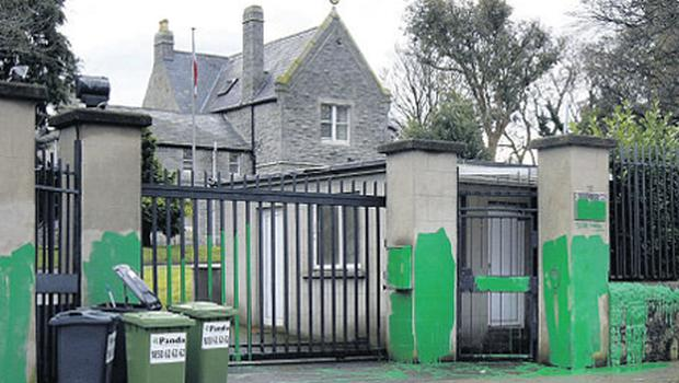 The Embassy of the Islamic Republic of Iran in Blackrock is vandalised