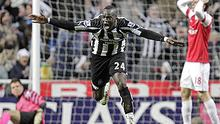Newcastle United's Ivorian midfielder Cheik Tiote celebrates scoring their equalizing goal against Arsenal. Photo: Getty Images
