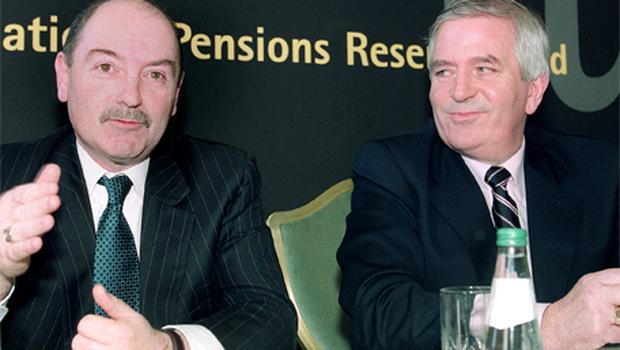 Chairman Donal Geaney and Finance Minister Charlie McCreevy at the launch of the National Pensions Reserve Fund in 2001