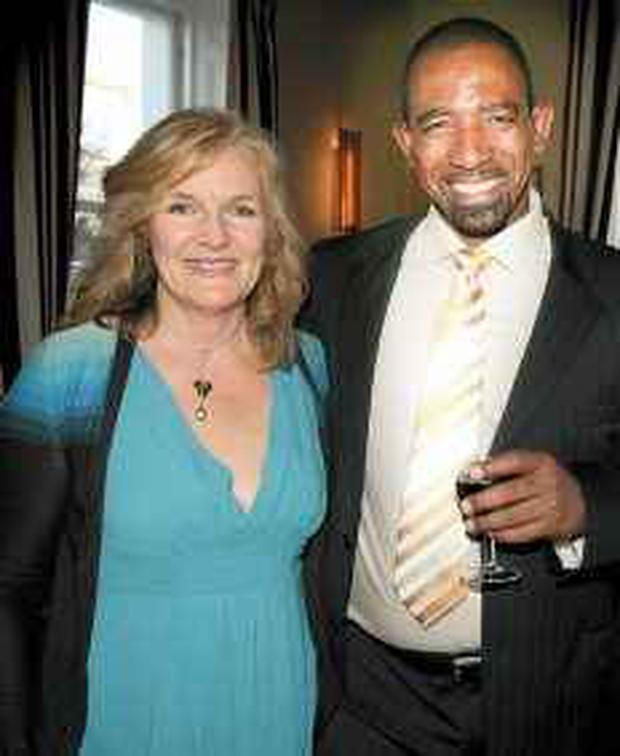 COACH: Anne Harris, deputy editor of the Sunday Independent, with new Irish cricket coach Phil Simmons