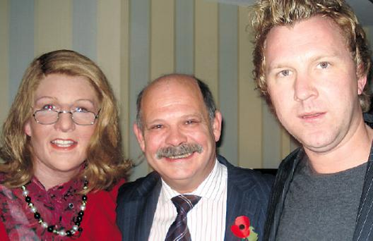 HUMOUR SHINES THROUGH: David Ervine with disguised Patrick Kielty and Jason Byrne