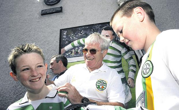 Lisbon Lion Bertie Auld signing autographs for young fans in Ramelton yesterday
