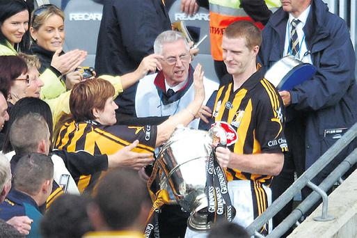 Kilkenny captain Henry Shefflin looks positively embarrassed as he accepts the congratulations from fans following yesterday's final