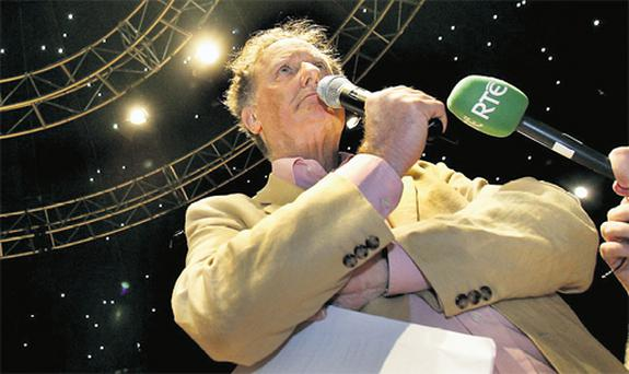 Facing the chop...broadcaster Vincent Browne during his famous election campaign grilling of Bertie Ahern
