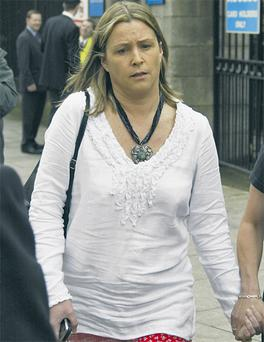 Nikki Pelley outside the court yesterday where she told of her relationship with Joe O'Reilly.