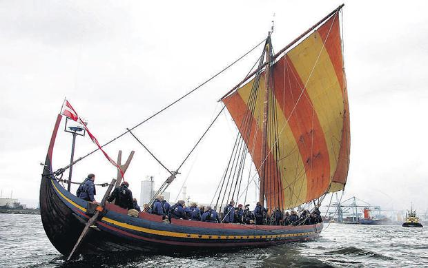 The viking longship Sea Stallion of Glendalough sails towards Dublin Docklands after a six week voyage from Roskilde in Denmark